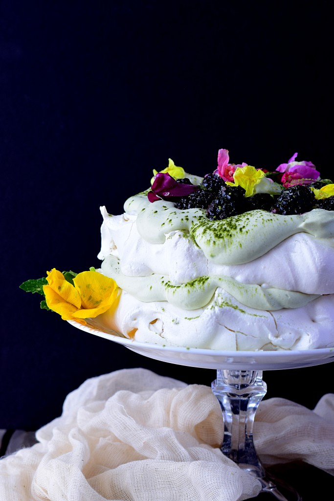 Matcha, Blackberry, and Snapdragon Pavlova